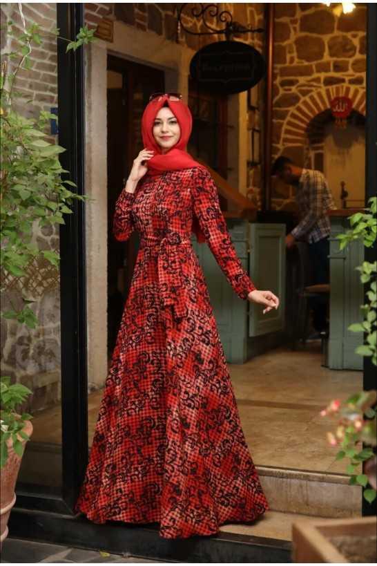 Pınar Şems Genç Tesettür Desenli Elbise Modelleri