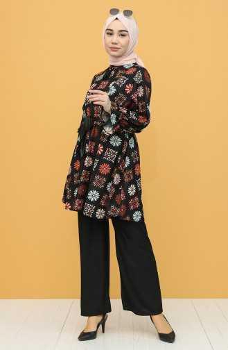 Sefamerve Tesettür Desenli Tunik Takım Modelleri