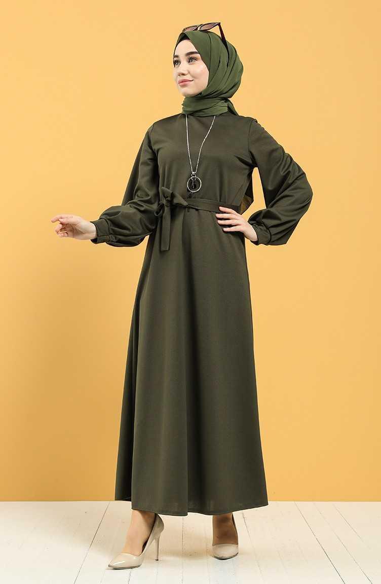 Sefamerve Tesettür Kuşaklı Krep Elbise Modelleri