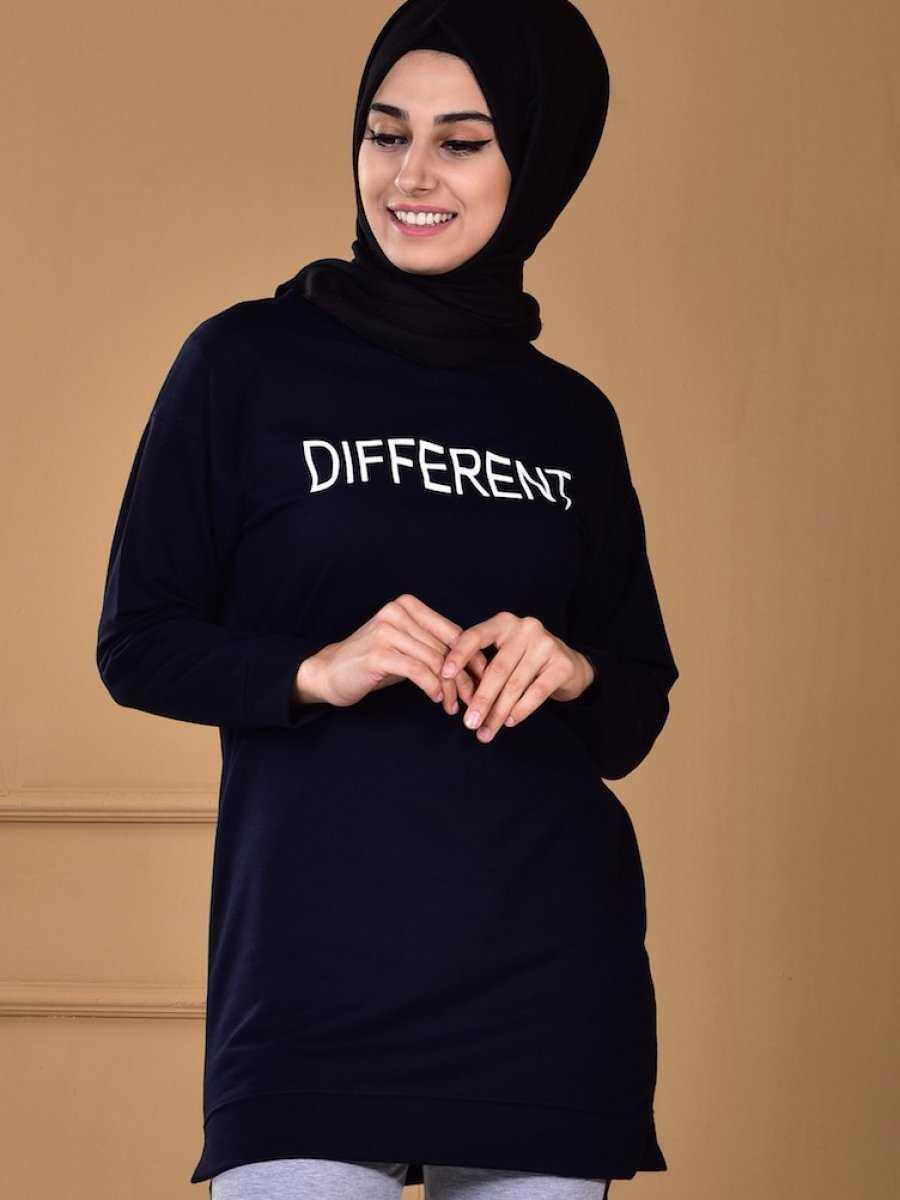 Sefamerve Yazı Baskılı Tesettür Sweatshirt Modelleri