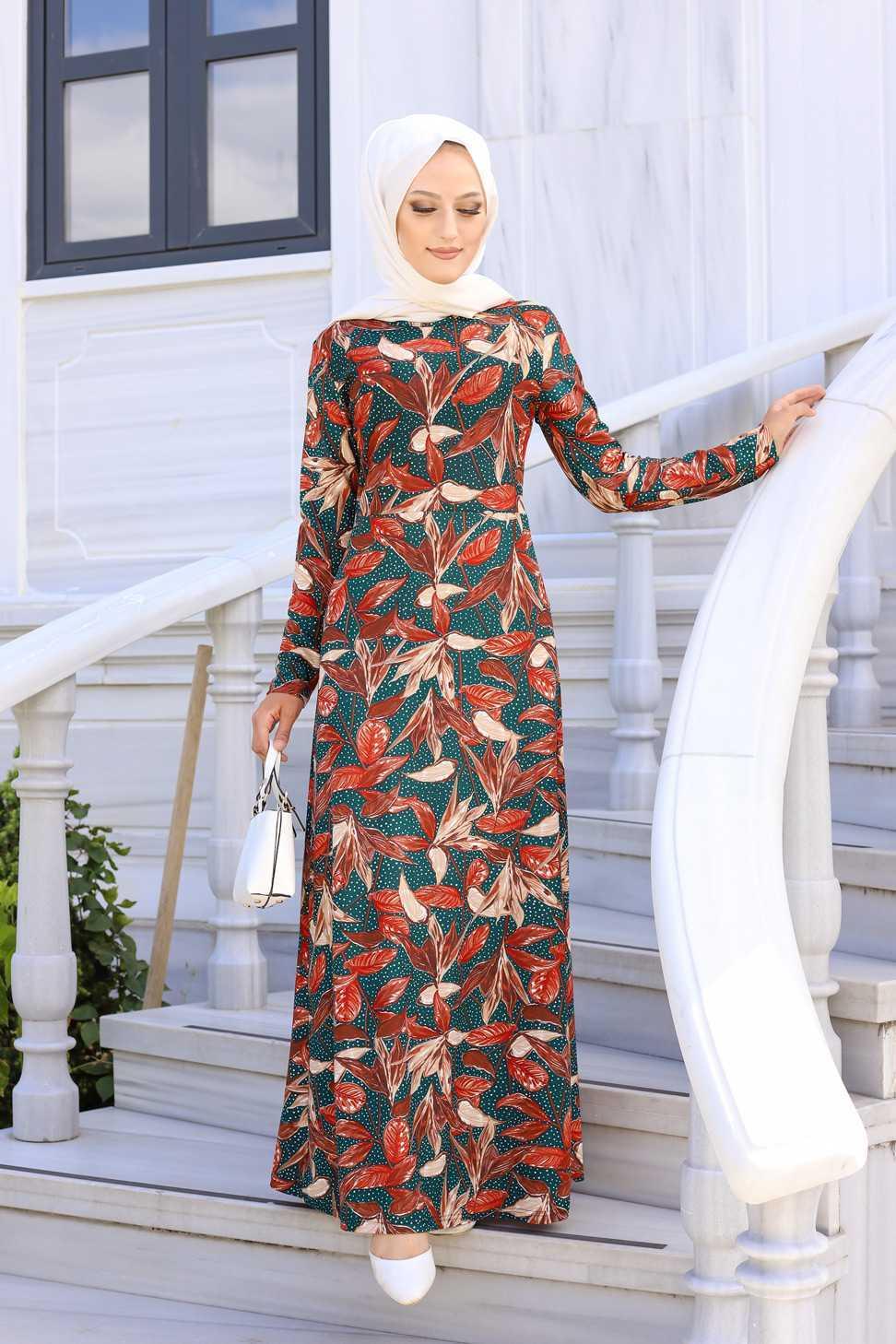 Tofisa Tesettür Desenli Krep Elbise Modelleri
