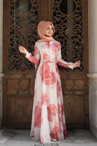 Çiçek Desenli Pınar Şems Özel Elbise Modelleri