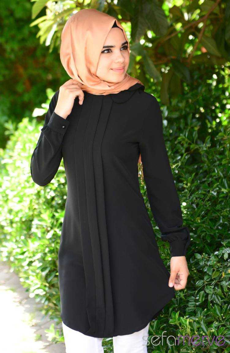 En Şık Sefamerve Siyah Tesettür Tunik Modelleri