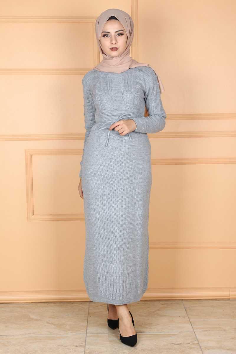 Eymina Tesettür Örgü Desenli Şık Elbise Modelleri