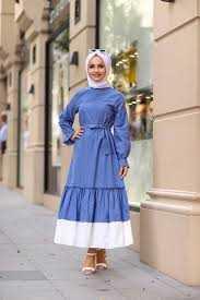 Hf Moda Tesettür Keten Elbise Modelleri