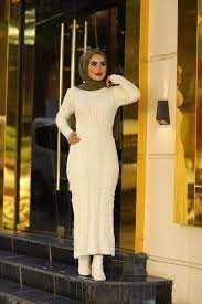 Hf Moda Tesettür Örgü Desenli Elbise Modelleri
