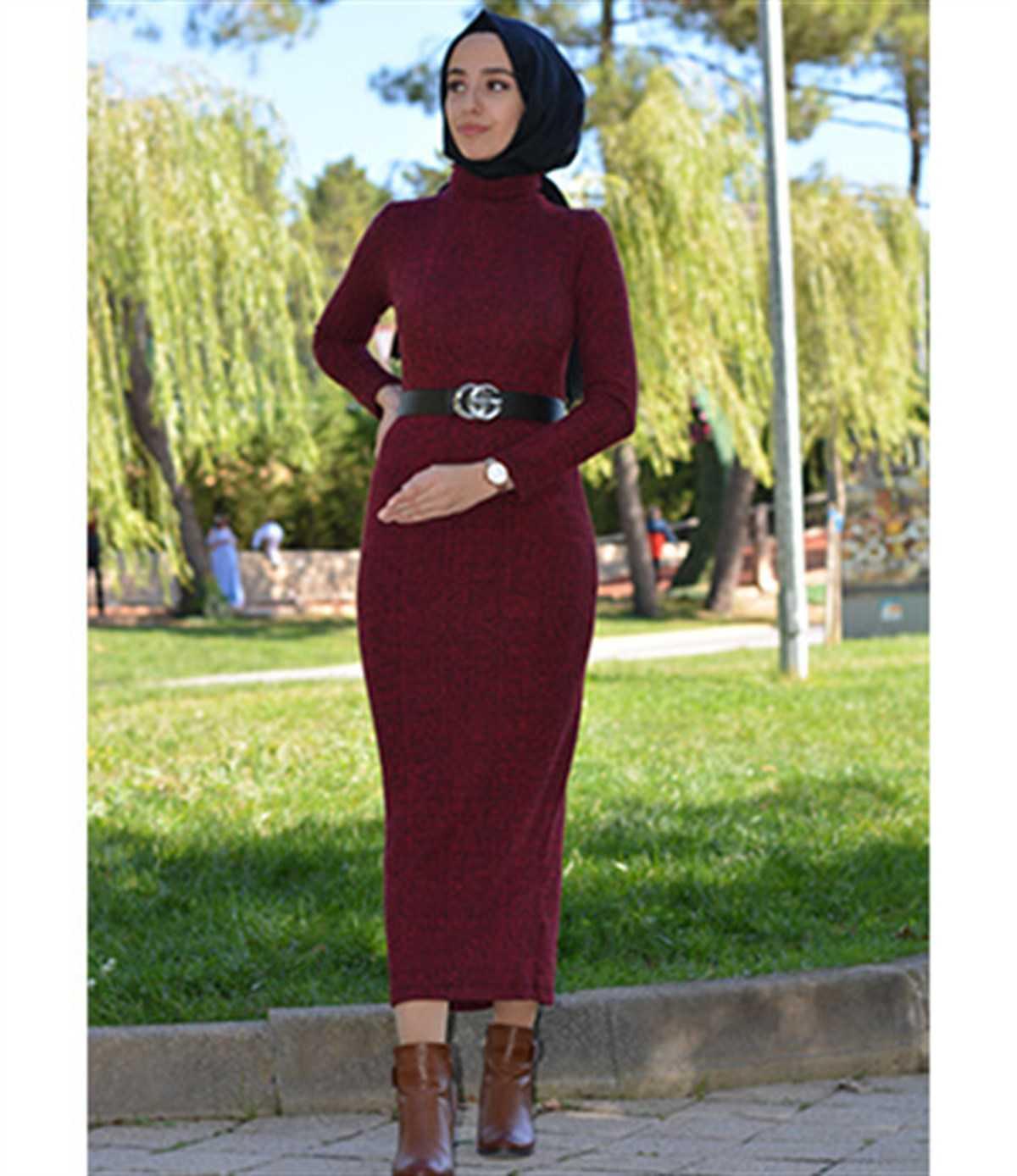 Kıyafetdünyam Tesettür Örgü Elbise Modelleri