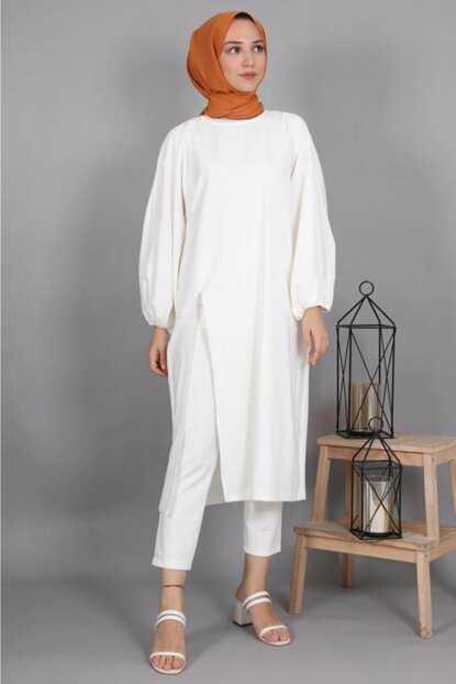 Lamia Giyim Yırtmaçlı Tesettür Takım Modelleri