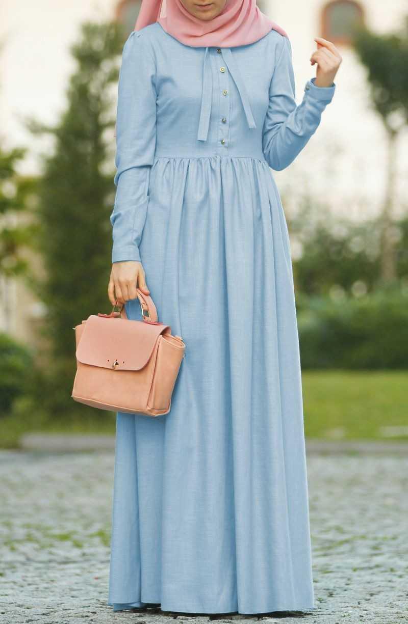 Mine Fularlı Tesettür Keten Elbise Modelleri