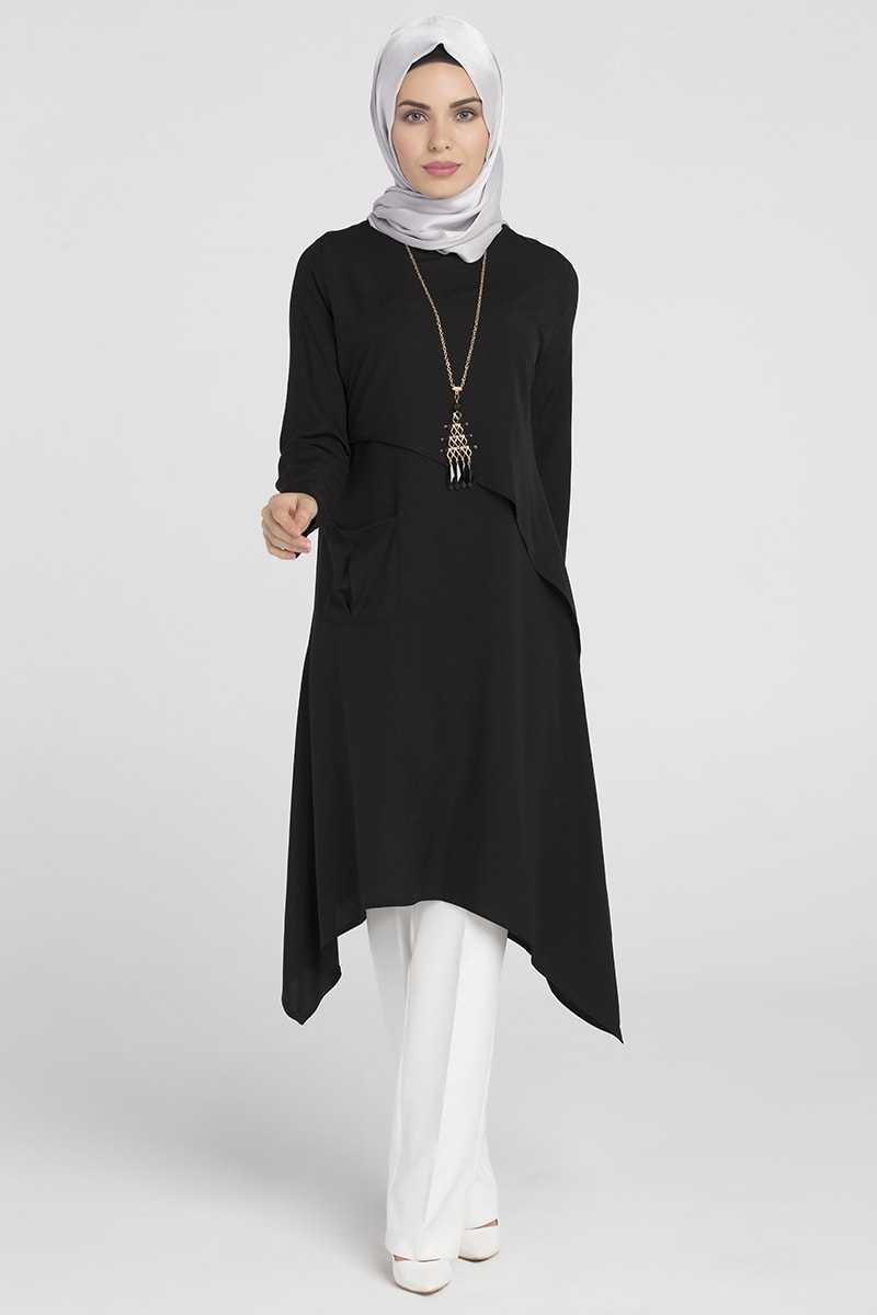 Moda Pinhan Kolyeli Siyah Tesettür Tunik Modelleri