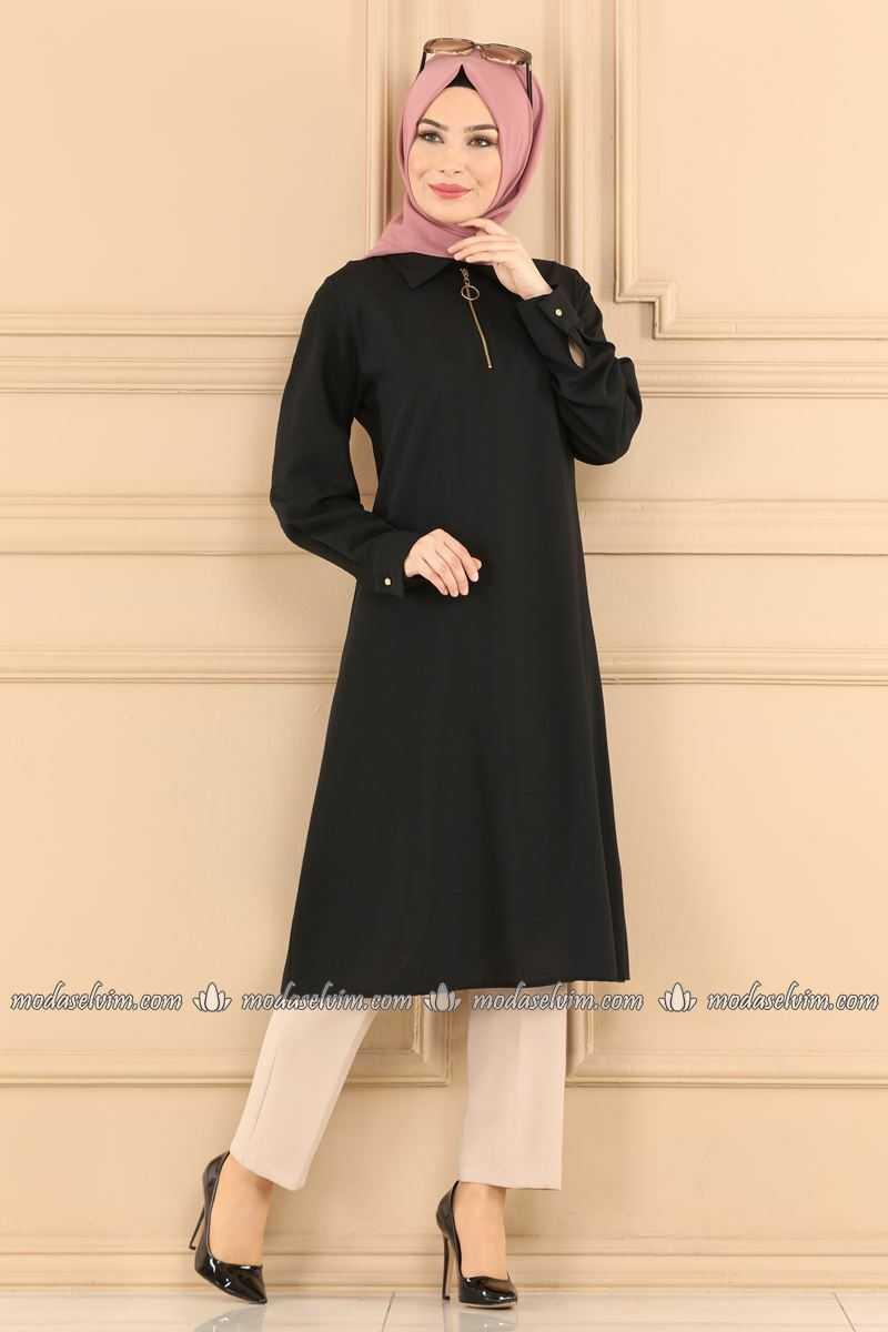 Moda Selvim Siyah Tesettür Tunik Modelleri