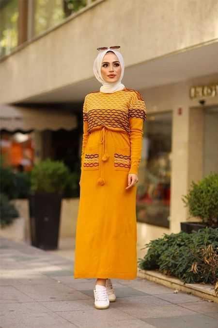 ModaBahar Tesettür Örgü Desenli Elbise Modelleri