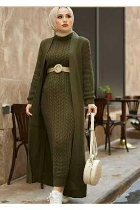 Modam Afra Tesettür Örgü Desen Elbise Modelleri