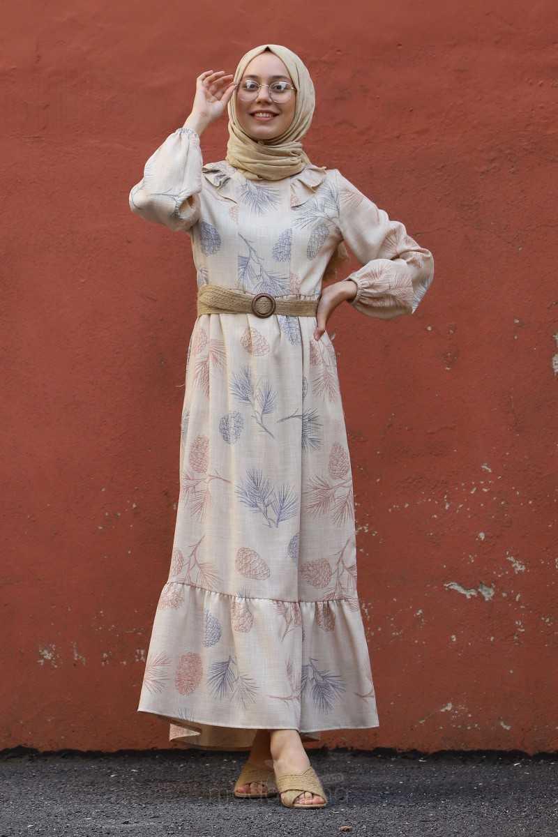 Modarana Tesettür Desenli Keten Elbise Modelleri