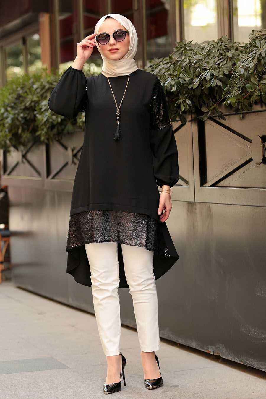 Nayla Collection Pul Payetli Siyah Tunik Modelleri