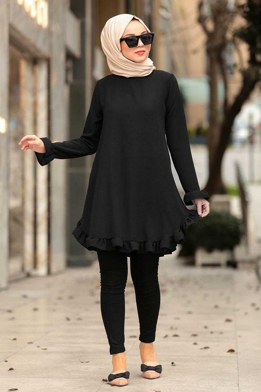 Nayla Collection Siyah Tesettür Tunik Modelleri
