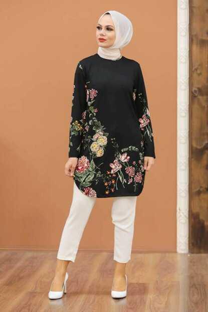 Neva Style Siyah Tesettür Desenli Tunik Modelleri