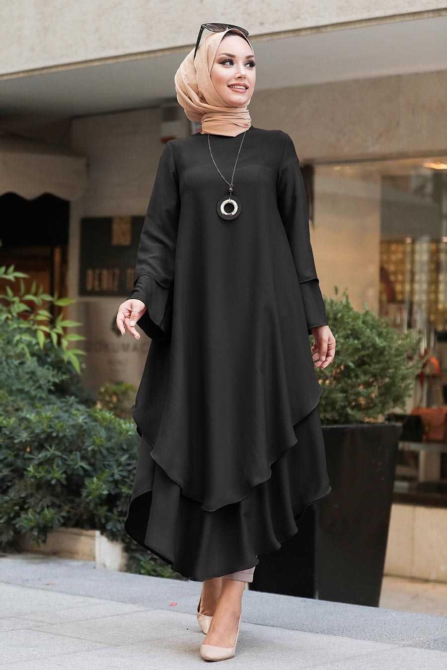 Neva Style Siyah Tesettür Özel Tunik Modelleri