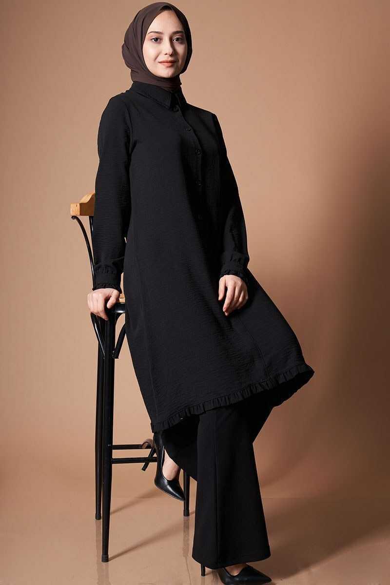 Poleen Tesettür Siyah Tunik Modelleri