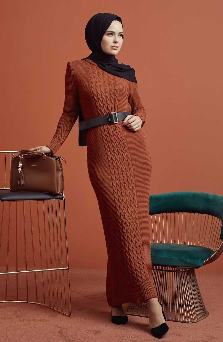 Sefamevre Tesettür Örgü Desenli Elbise Modelleri
