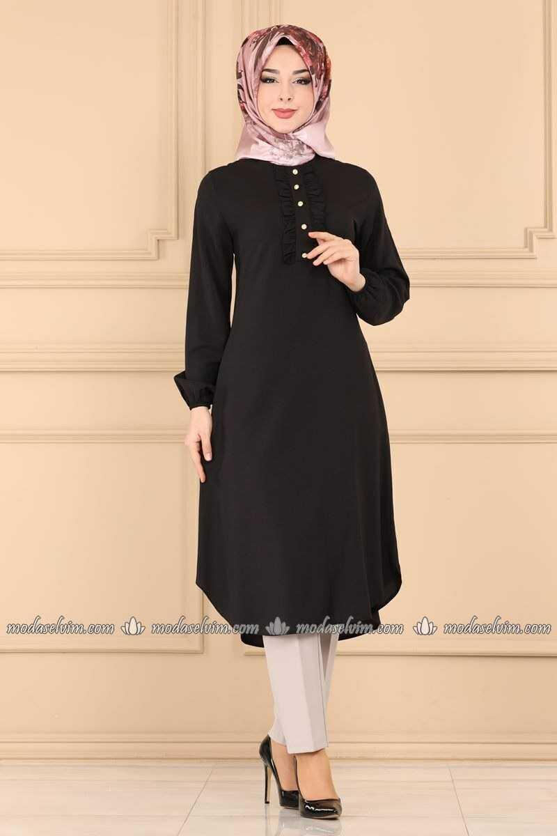 Şık Moda Selvim Siyah Tesettür Tunik Modelleri