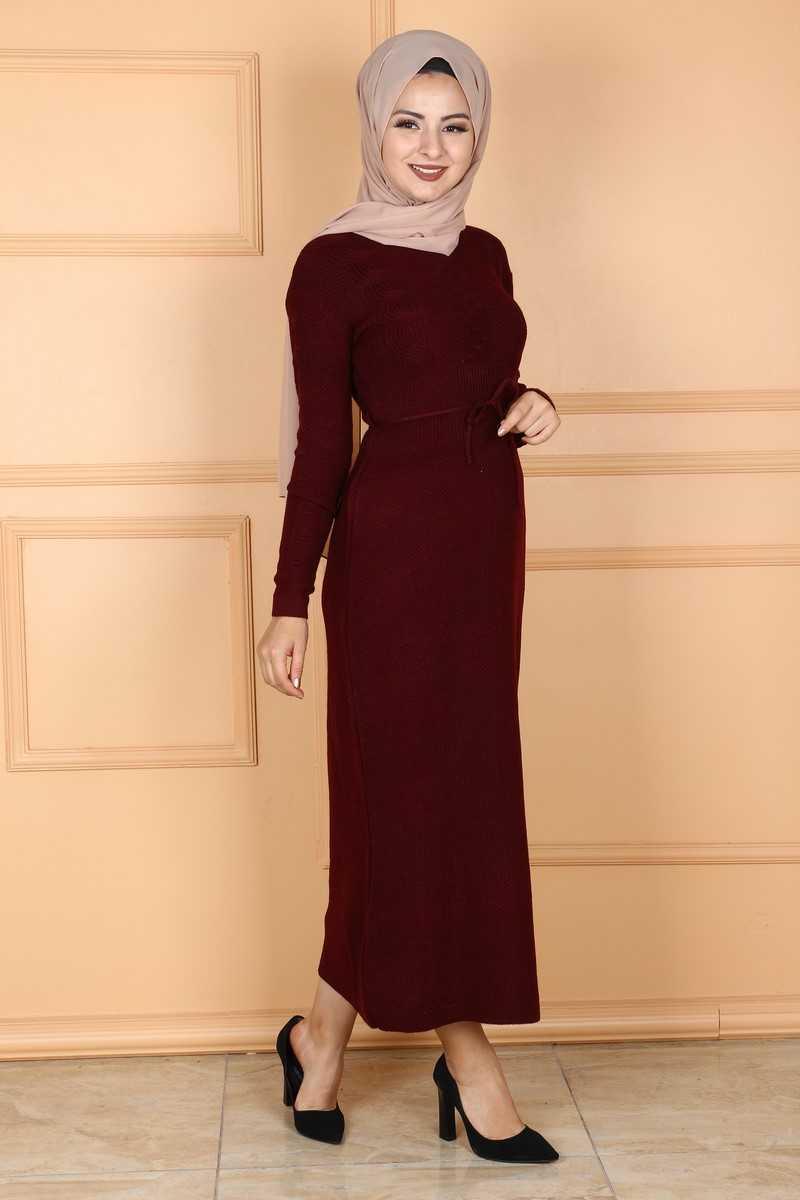 Sonbahar Kış Eymina Tesettür Örgü Desenli Elbise Modelleri