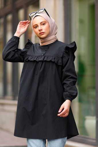 Tesettür Pazarı Siyah Fırfırlı Tunik Modelleri