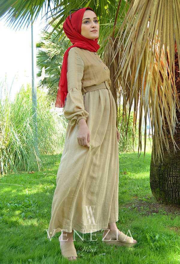 Venezia Wear Tesettür Keten Elbise Modelleri