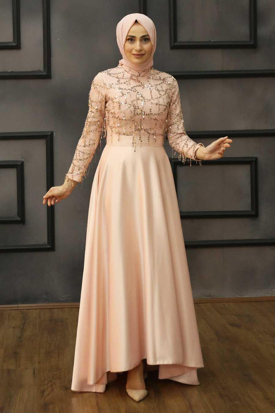 Feiza Collection Pul Detaylı Saten Abiye Elbise Modelleri