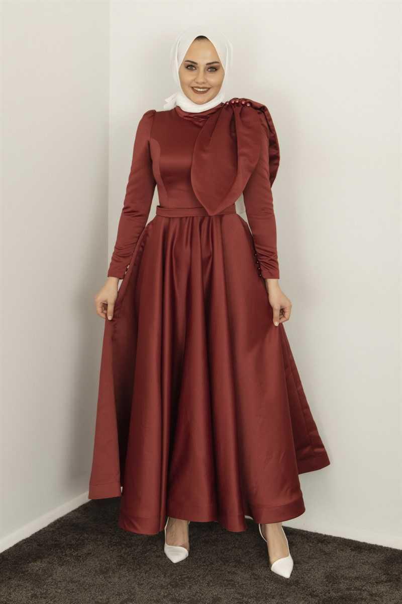 Meri Store Tesettür Saten Abiye Elbise Modelleri