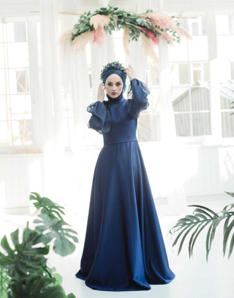 Minel Aşk Tesettür Saten Abiye Elbise Modelleri