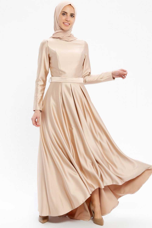 Pia Tesettür Saten Abiye Elbise Modelleri