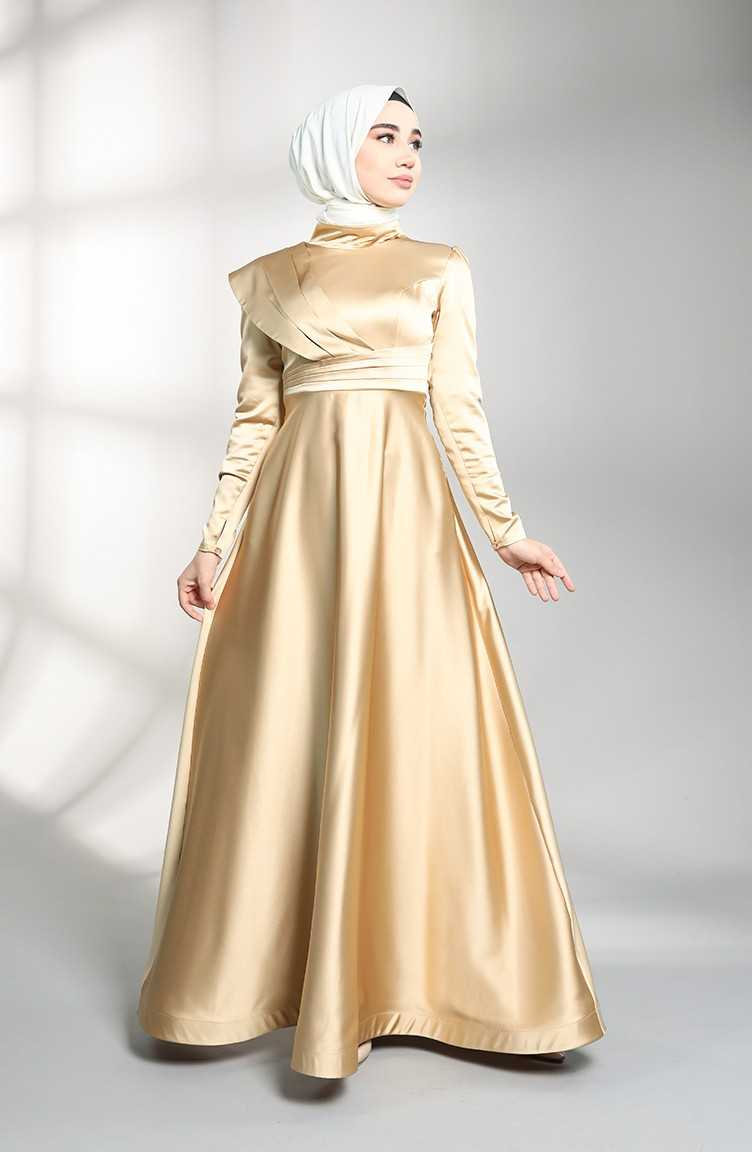 Sefamerve Allerli Tesettür Saten Abiye Elbise Modelleri