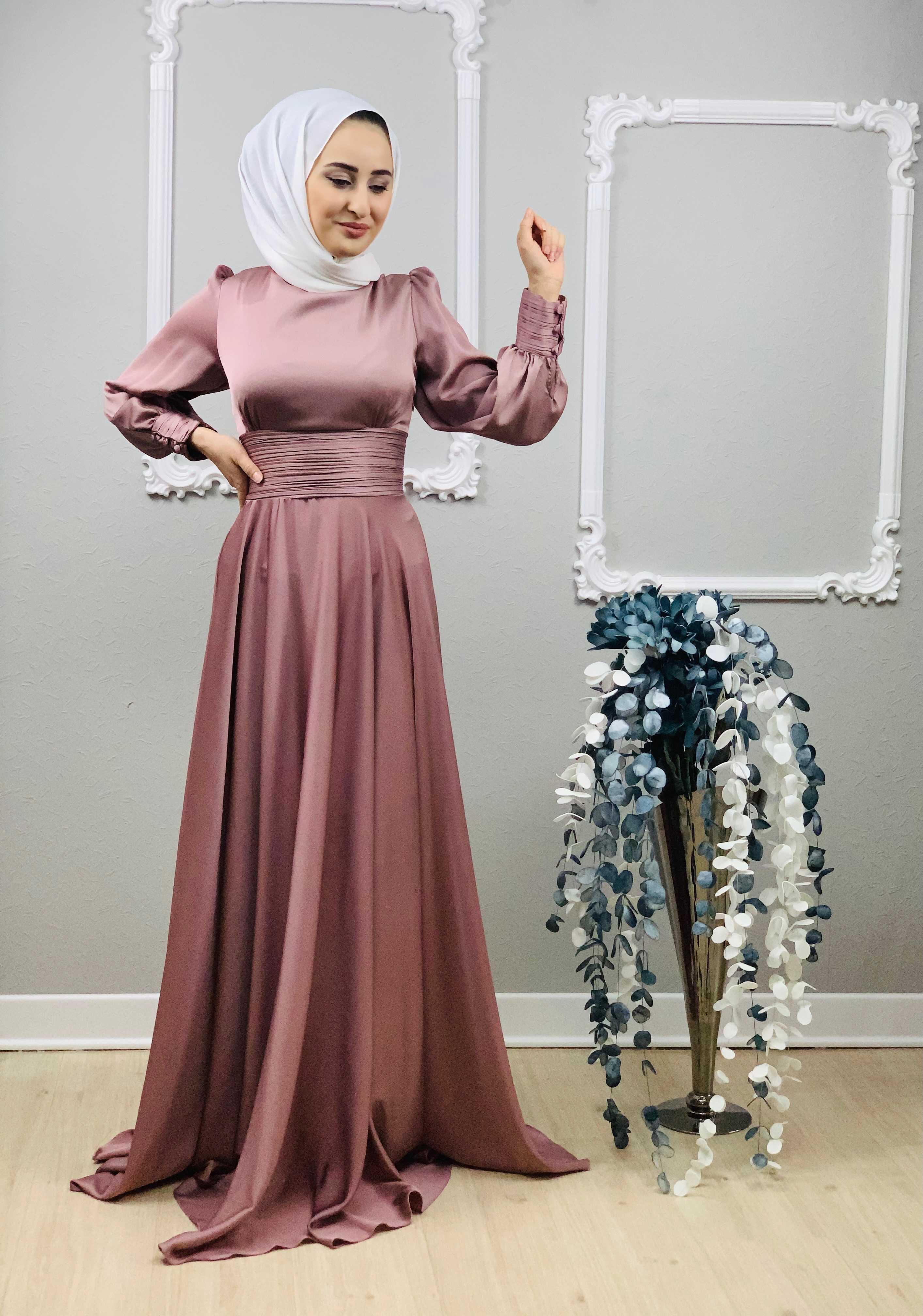 Setenay Tesettür Saten Abiye Elbise Modelleri