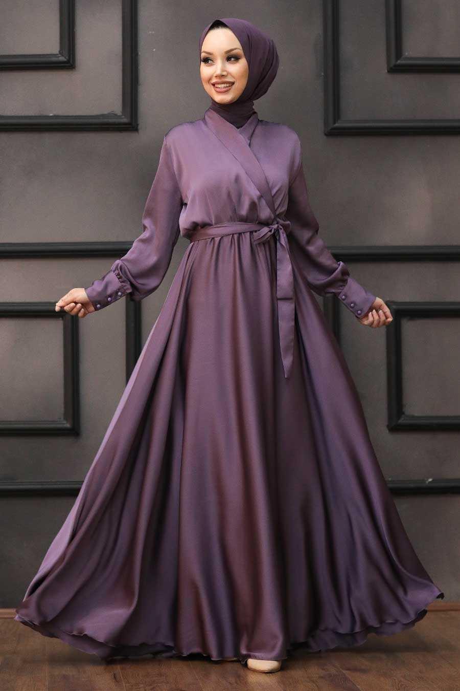 Tesettürlü Abiye Elbiseler Saten Modelleri