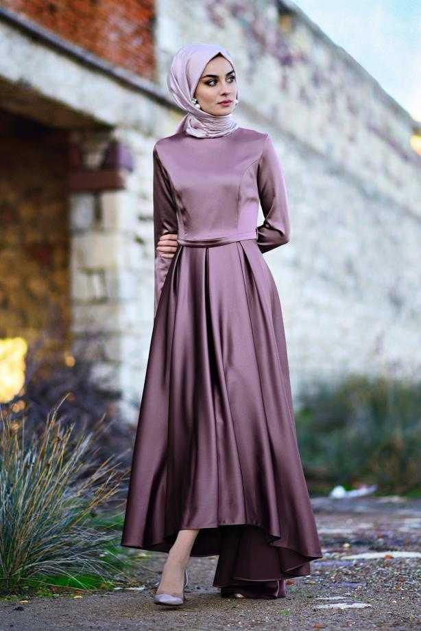 Trend Tesettür Asimetrik Kesim Saten Abiye Elbise Modelleri