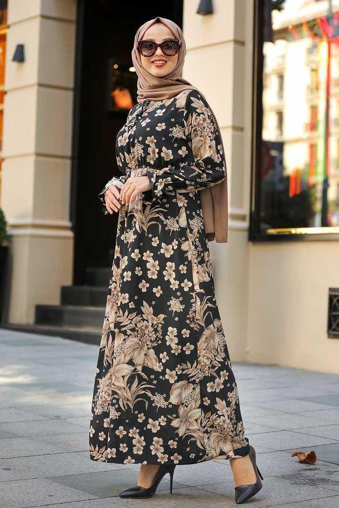 Çiçek Desenli Neva Style Tesettür Elbise Modelleri