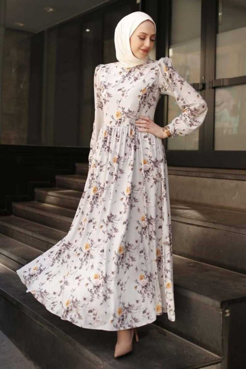 Desenli Neva Style Tesettür Elbise Modelleri