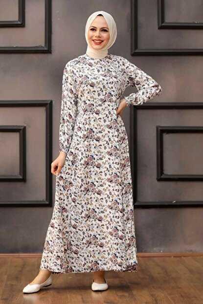 Günlük Neva Style Tesettür Desenli Elbise Modelleri