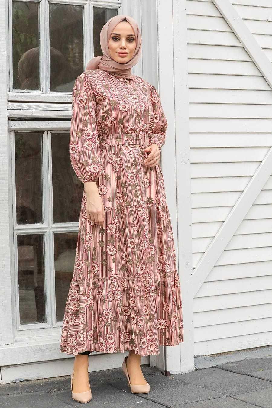 Kemerli ve Desenli Neva Style Elbise Modelleri