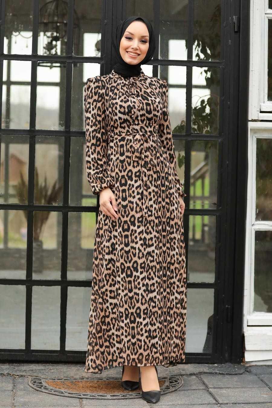 Leopar Desenli Neva Style Desenli Elbise Modelleri