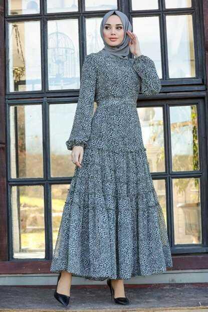 Leopar Desenli Neva Style Tesettür Elbise Modelleri