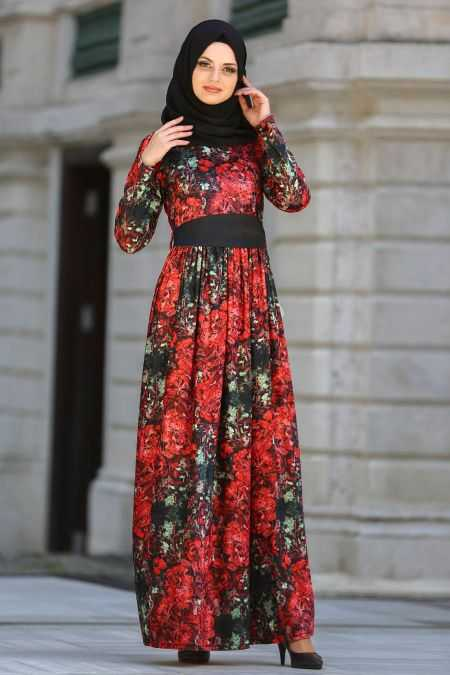 Neva Style Desenli Kırmızı Elbise Modelleri