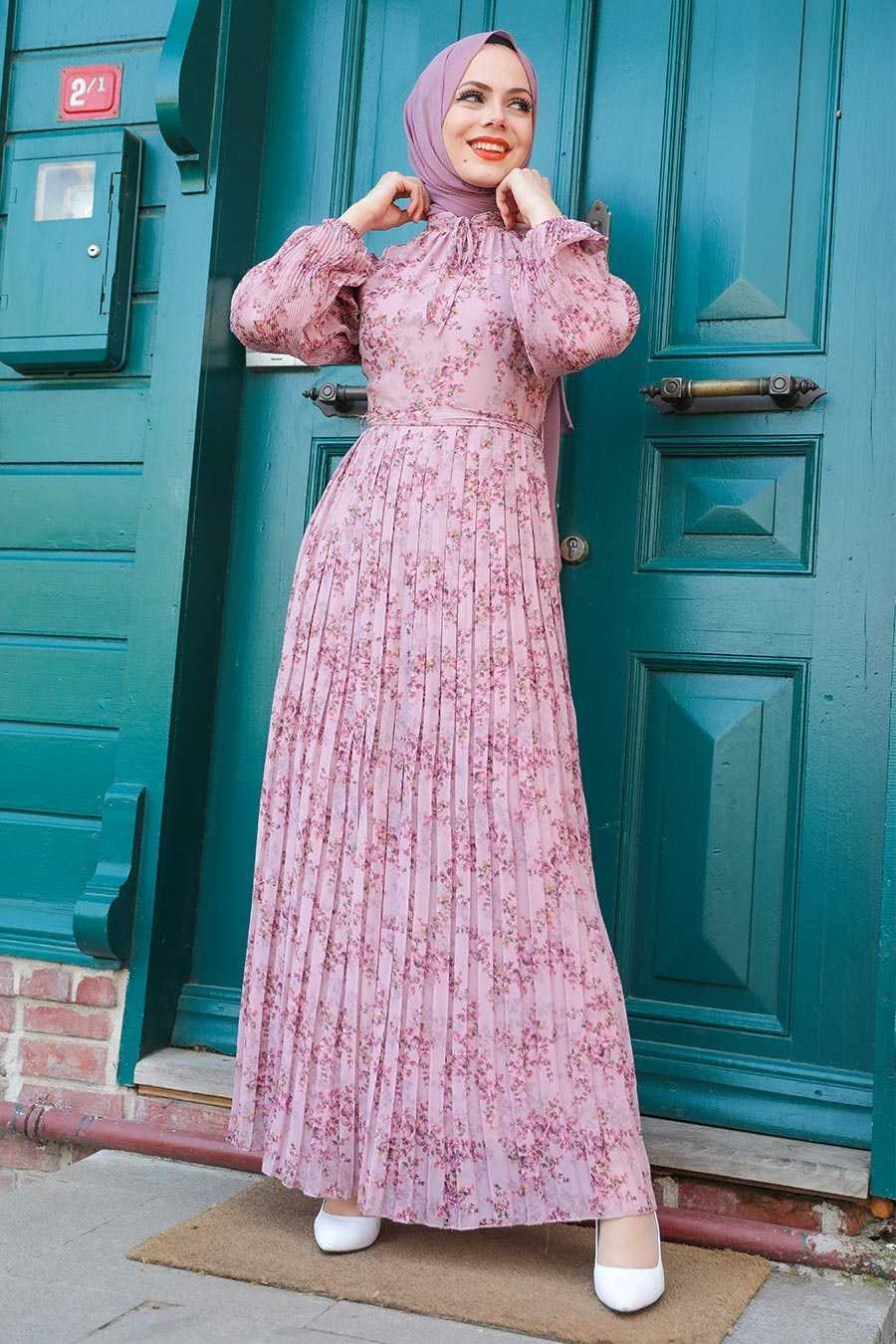Pileli Neva Style Desenli Elbise Modelleri