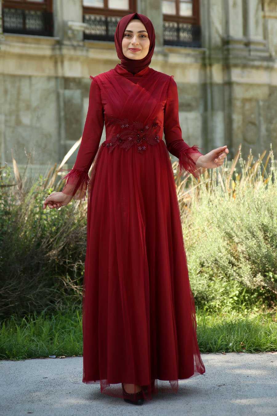 Feiza Collection Kolları Tüylü Abiye Elbise Modelleri
