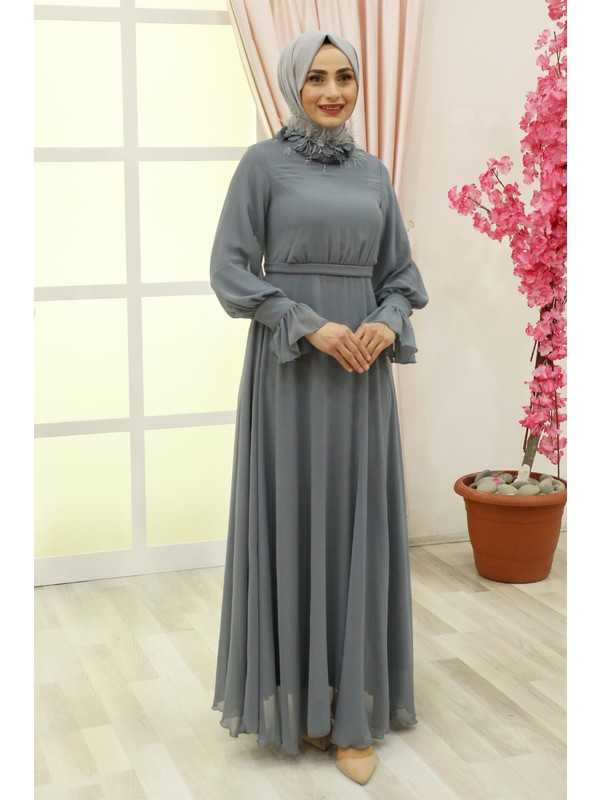 Mihir Tesettür Tüylü Abiye Elbise Modelleri