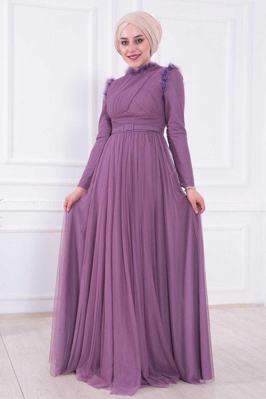 Moda Gülay Omuz ve Yakası Tüylü Abiye Elbise Modelleri