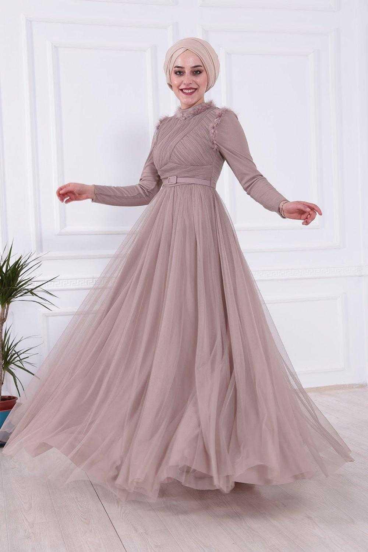 Moda Gülay Tüylü Abiye Elbise Modelleri