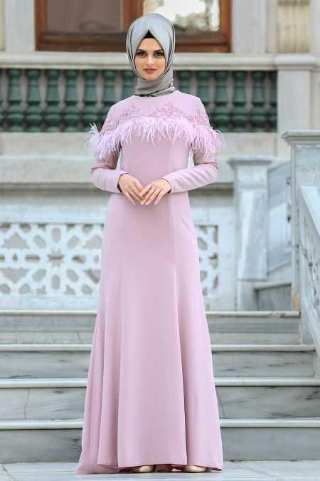 Puane Tüylü Abiye Elbise Modelleri