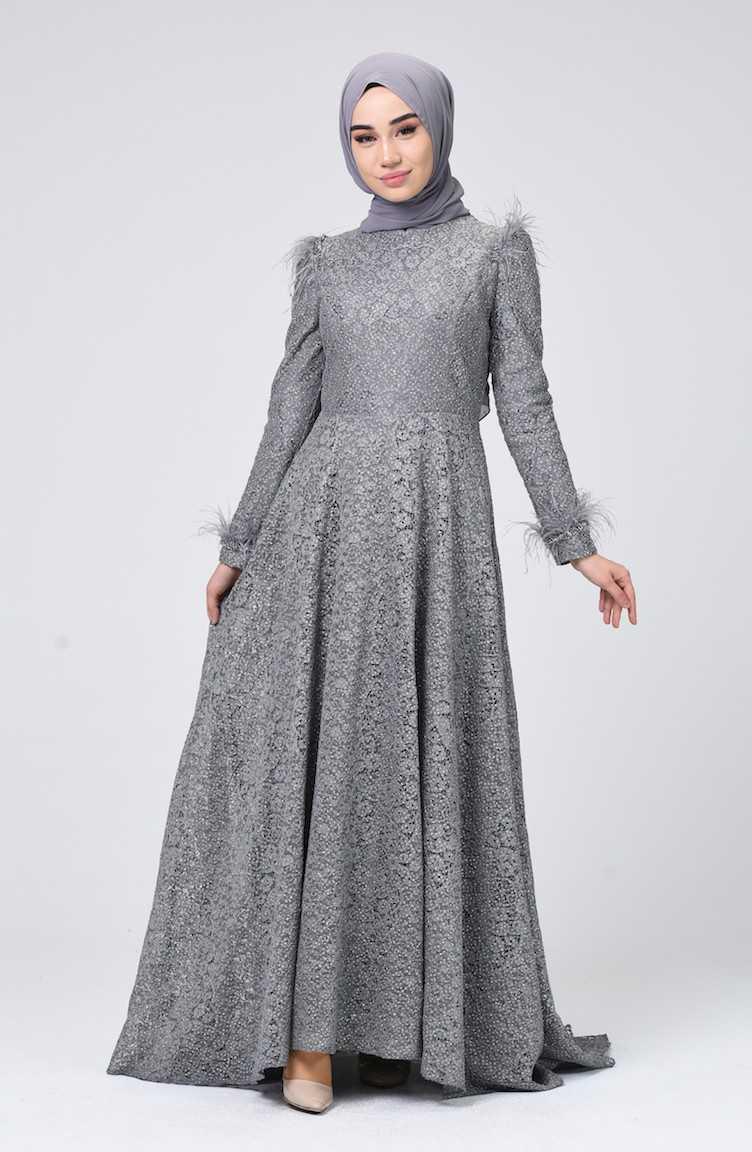 Sefamerve Dantel Kaplamalı Tüylü Abiye Elbise Modelleri